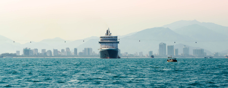 lifeboats: Big cruise ship in port Stock Photo
