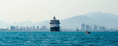 Big cruise ship in port Stock Photo