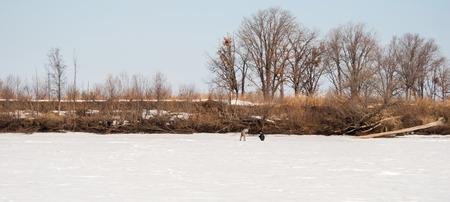 Fishermen drill holes for winter fishing