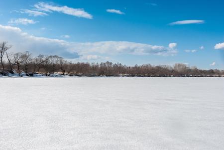 frozen winter: Winter landscape with frozen river Stock Photo