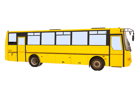 Yellow bus on white background Banco de Imagens