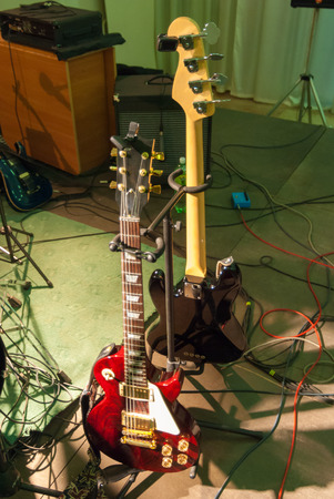 Two guitars ready for the concert