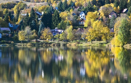 Mirror lake by fall Stock Photo