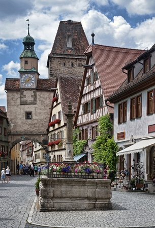 bayern old town: Markusturm tower in Rothenburg ob der Tauber, Bavaria, Germany. Stock Photo