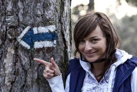 Blue tourist sign in forest