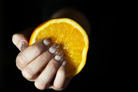 Juicy orange in woman´s hand Stock Photo - 11792594