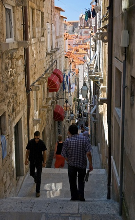 The ancient street in Dubrovnik old town. Photo taken at 09th of July 2009.
