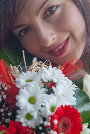 Woman face with flower bouquet Stock Photo - 11981297