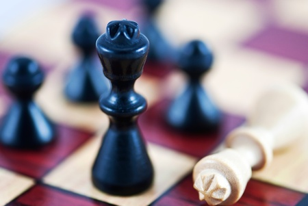 Closeup of checkmate on king