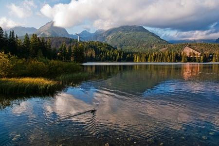Beautiful mountain lake with reflection. photo