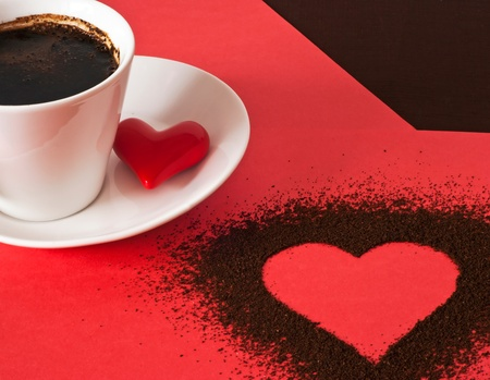 valentine day cup of coffee: Valentine`s setting of heart and coffee Stock Photo