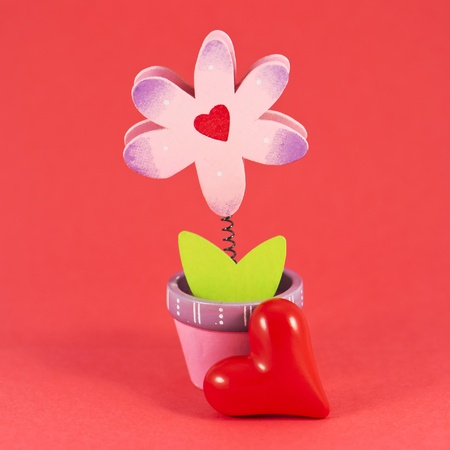 Valentine painted flower isolated on red background photo