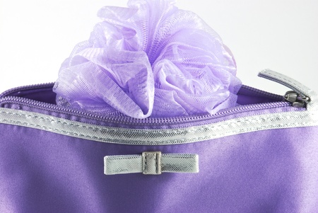 Detail of cosmetic bag with sponge Stock Photo - 12324198