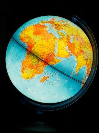 Illuminated Globe on a black background