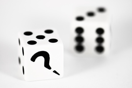 Two dice with question mark photo