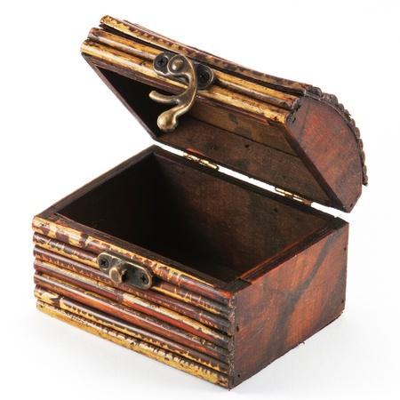storage box: Wooden casket isolated on white background