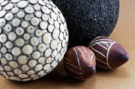 Divers decorative balls on beige background