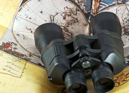 View from the top of binocular on antique map photo