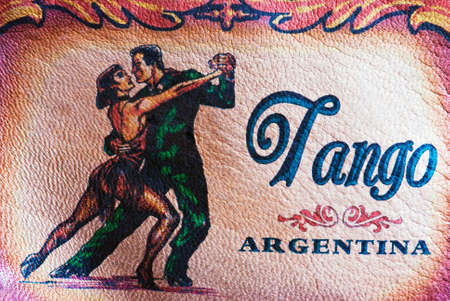 Leather painted with tango argentino figures Stock Photo