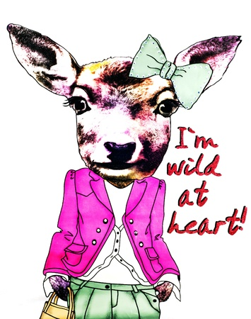 ilustration: Ilustration of dressed kangaroo with title I am wild at heart