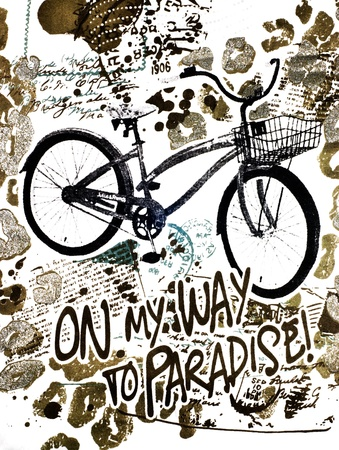 On my way to paradise by bicycle - ilustration