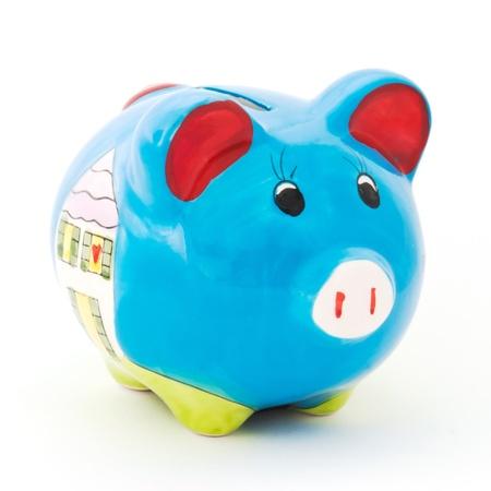 Ceramic pig box on white background