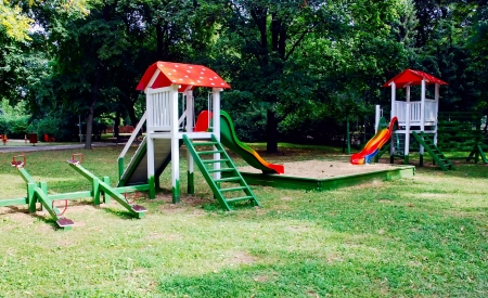 Empty playground, jungle gym at the park photo