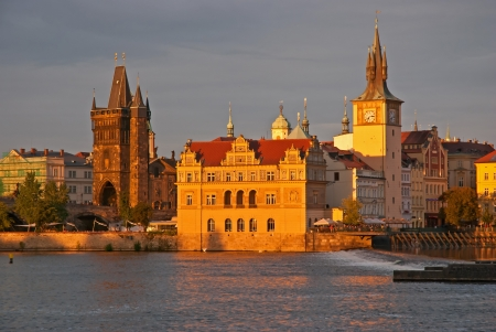 Sunset view of the Prague, Vltava river