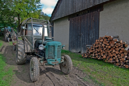 An old tractor in a farm in Slovakia Editorial