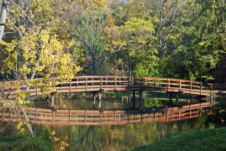 Wooden bridge in mirror, autumn colored photo