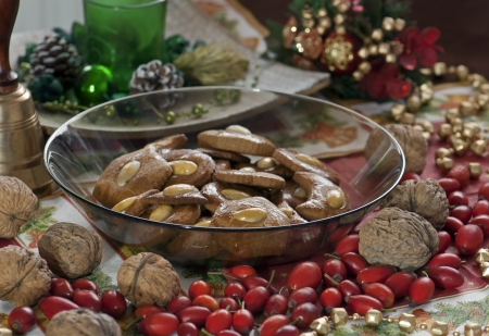 gingerbread cookies: Assorted shapes of gingerbread cookies on the christmas table Stock Photo