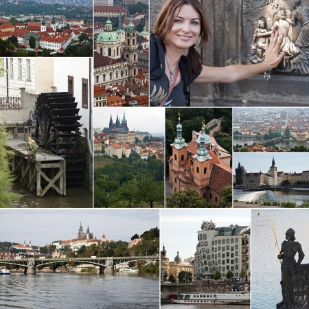 Collage of historic buildings and landmarks in Prague photo