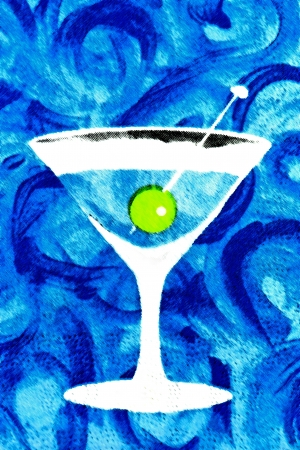 bartend: Blue illustration of a cocktail drink Stock Photo