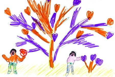 dessin enfants: Les enfants de dessin. Les gens et les arbres avec des coeurs.