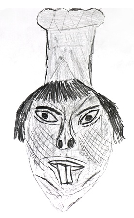 bambini disegno: Bambini disegno - chef cinese con i grandi denti