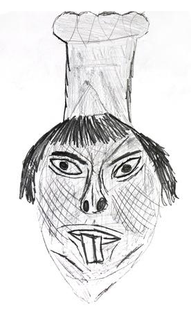 dessin enfants: Dessin d'enfant - chef chinois avec de grandes dents