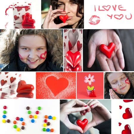 Valentine`s day collage. Heart, candies, flower, lips, beautiful woman and lovely boy. photo