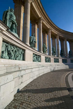 Statues of kings in the Heroes square, Budapest, Hungary photo