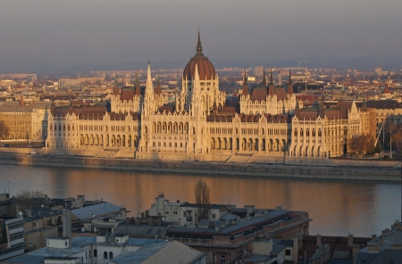 Famous building of Hungarian parliament in evening light, Budapest photo