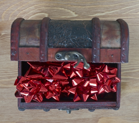 Image of red bows in jewellery box photo