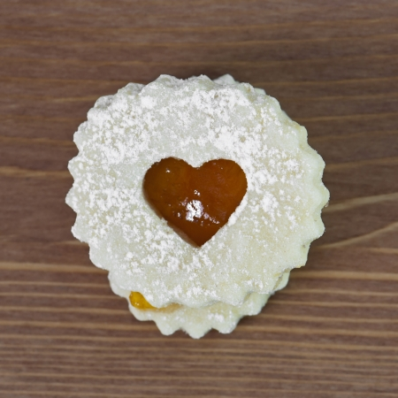 Linzer cookie with apricot jam heart photo