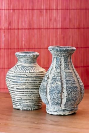Two handmade vases of terracotta photo