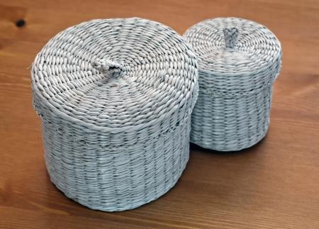 Set of white seagrass basket Stock Photo - 17102277