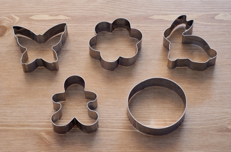Detail of various cookies cutters. photo