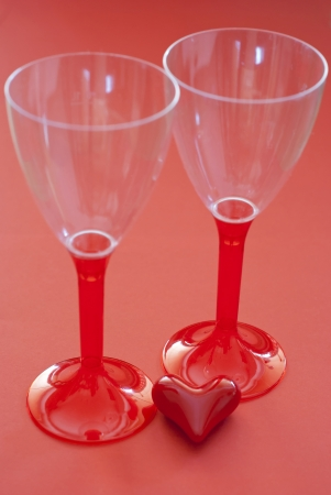 Two glasses with red valentine heart. Stock Photo - 17186341