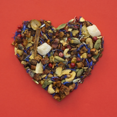 Heart shape of loose tea - Valentines Day photo