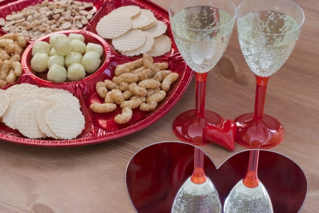 Valentine's day table setting with champagne Stock Photo - 17186344