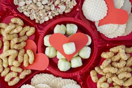 Valentine refreshments. Snack and hearts. Stock Photo - 17186349