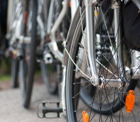 cicla: Detalle de una rueda de bicicleta. Foto de archivo
