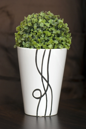 Decorative flower in a narrow and tall ceramic planter.